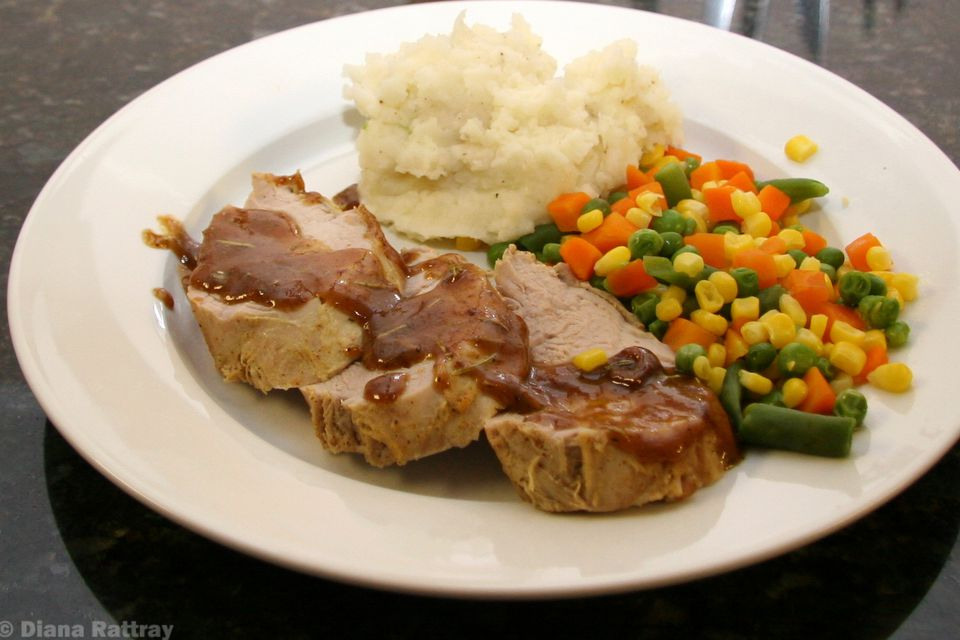 Sliced pork tenderloin with rosemary