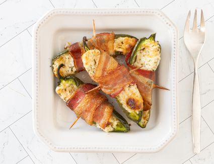 Small plate of bacon-wrapped jalapeno poppers