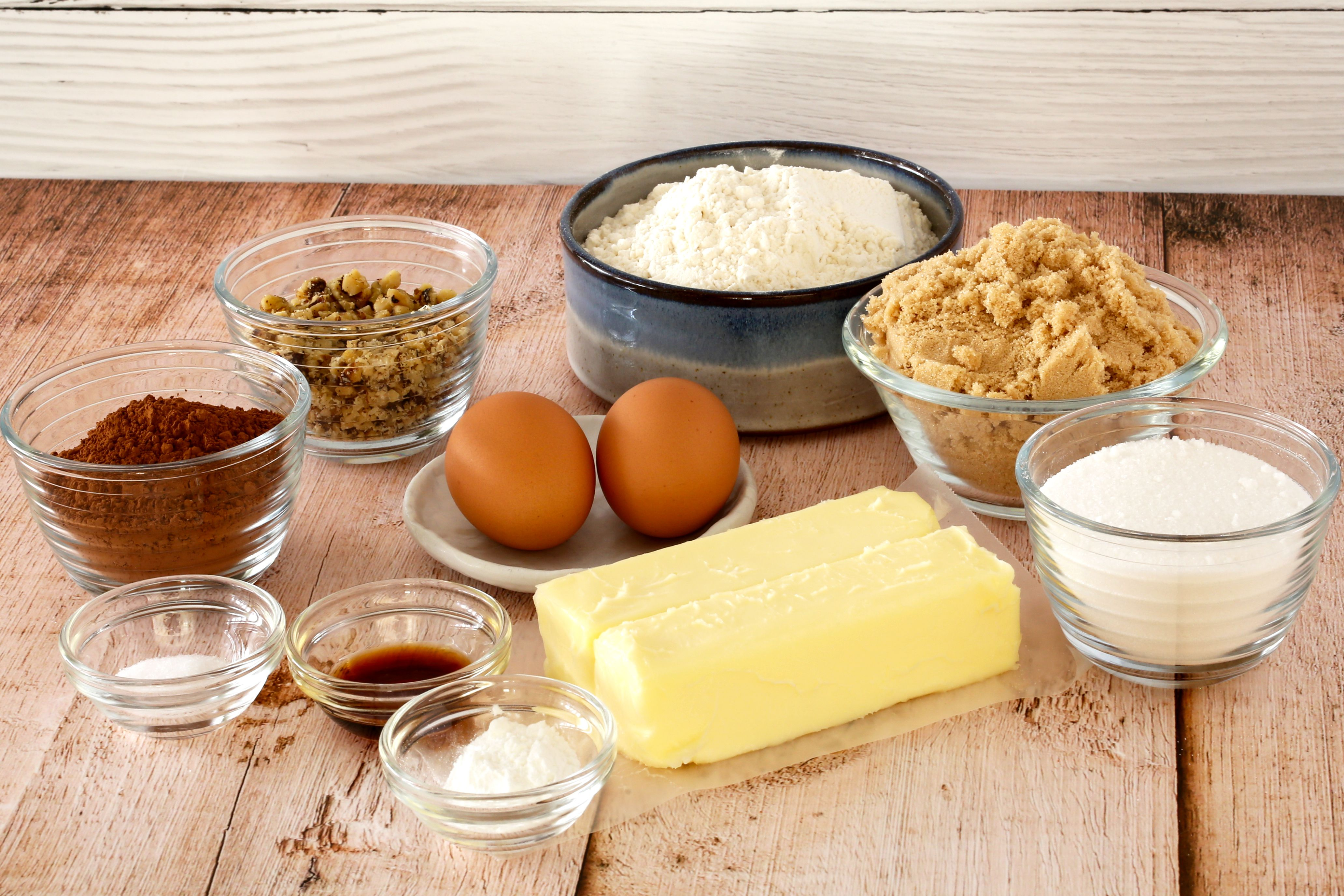 Ingredients for chocolate drop cookies.
