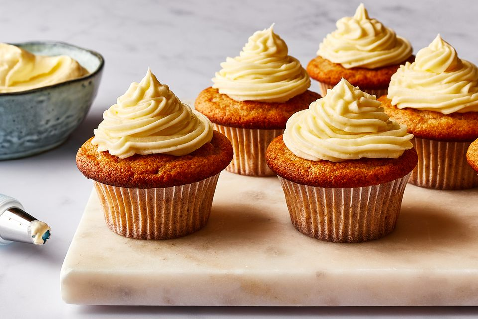 Cupcakes topped with vegan cream cheese frosting