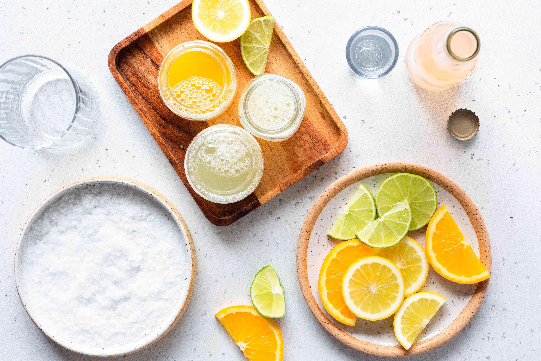 Cantarito Tequila Cocktail ingredients, tequila, lime juice, lemon juice, orange juice, grapefruit soda, citrus fruits, salt