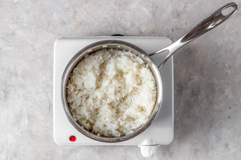rice in a saucepan