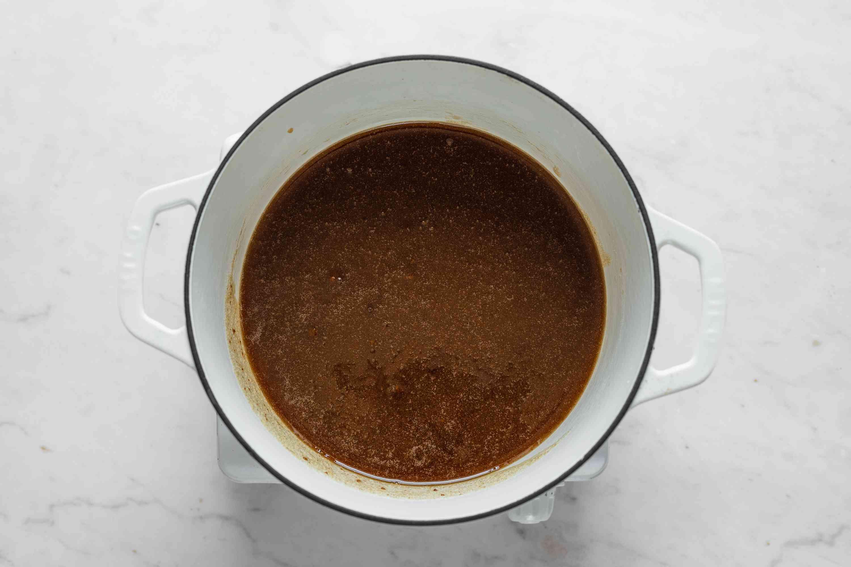 Combine the sugars, vinegar, corn syrup, water, and salt in a medium saucepan