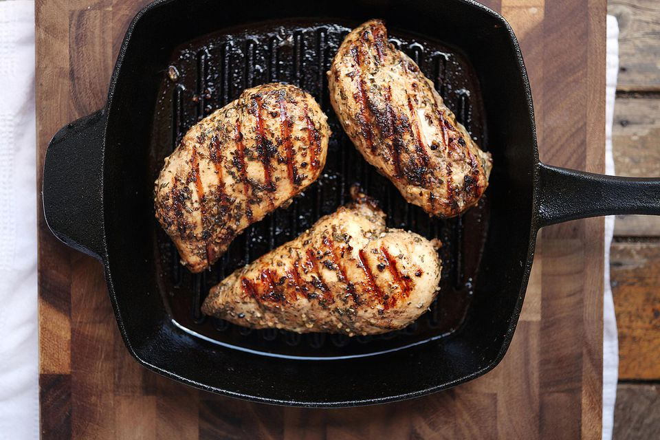 Grilled chicken breasts in pan