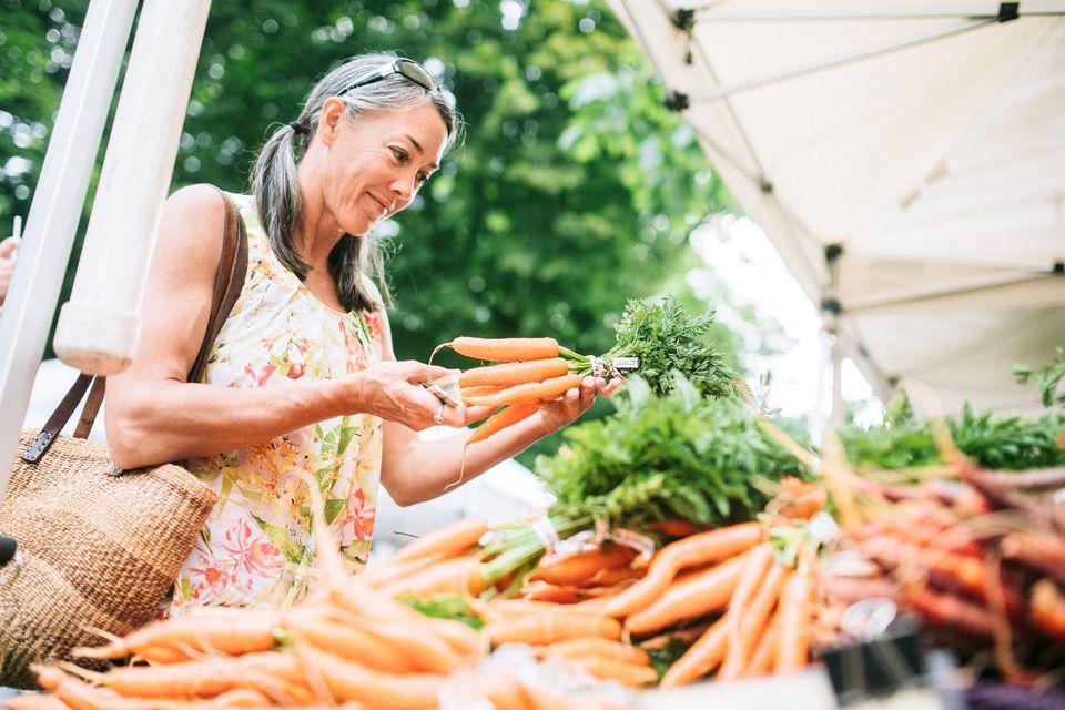 Woman shopping at farmers market