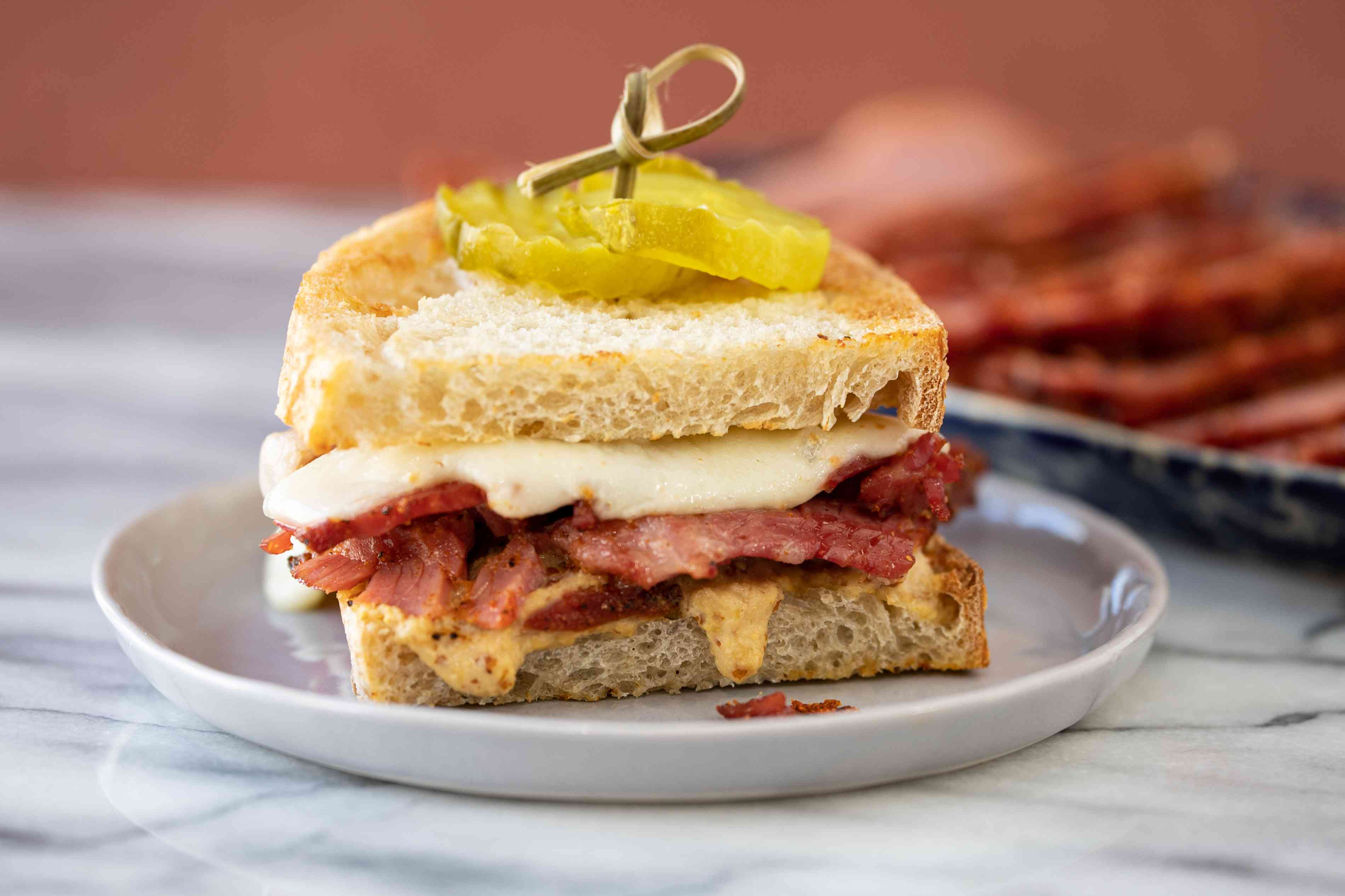 sandwich made with homemade Instant Pot pastrami.