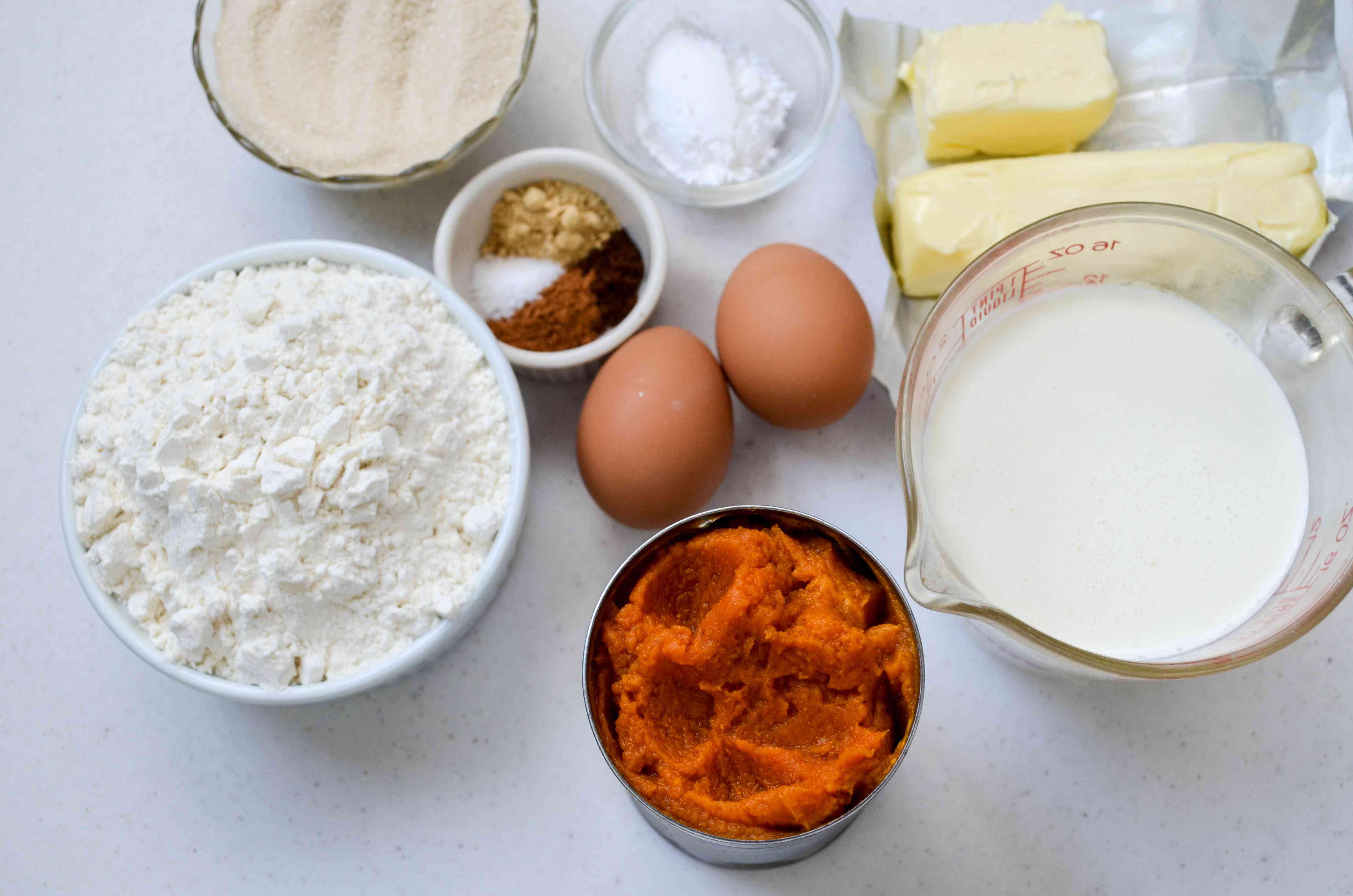 Gather the ingredients for pumpkin pie bars