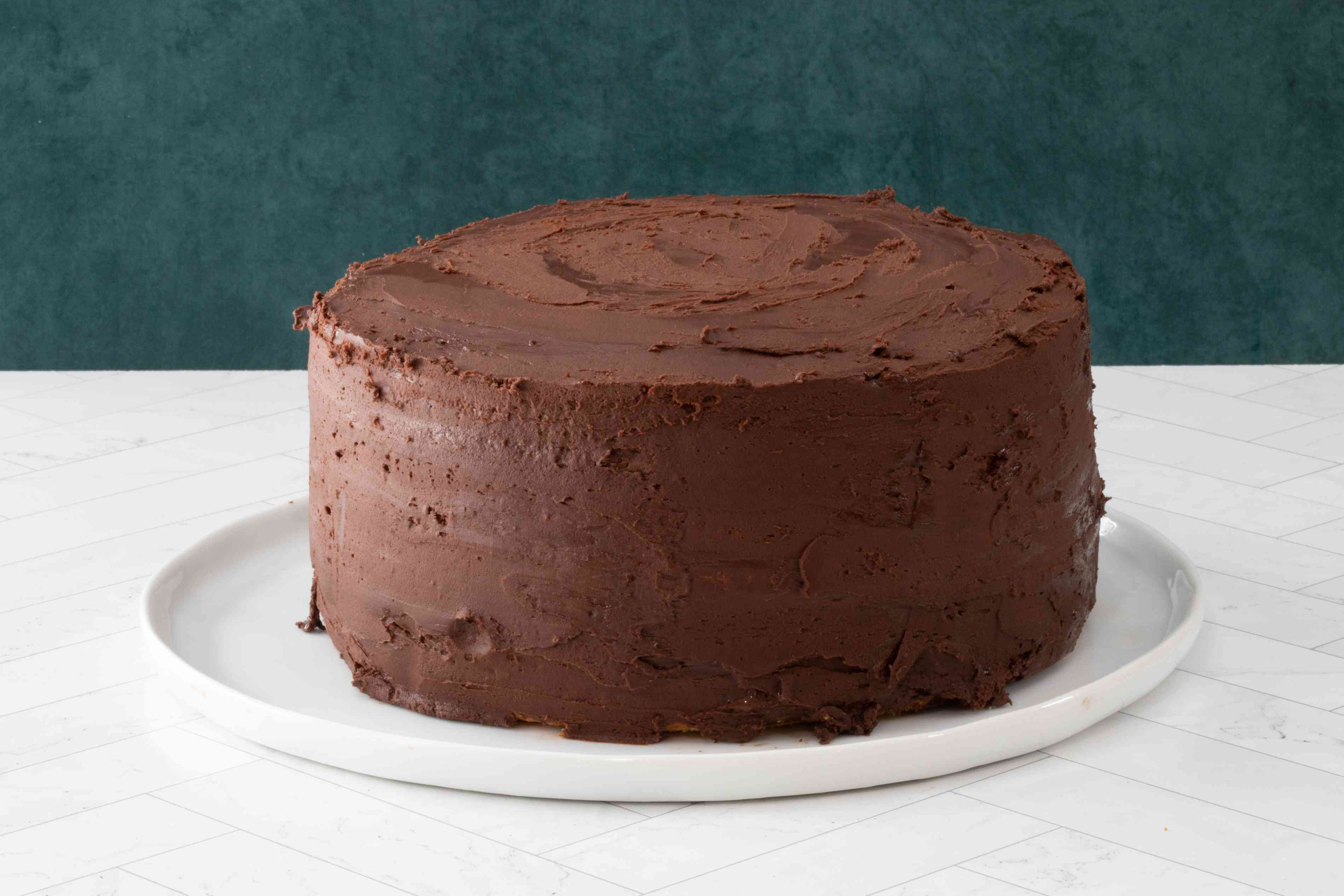 cake covered with chocolate buttercream