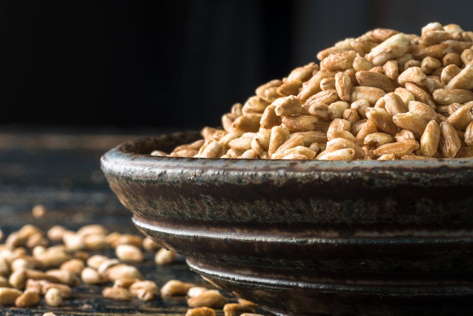 Close-up of an overflowing bowl of farro