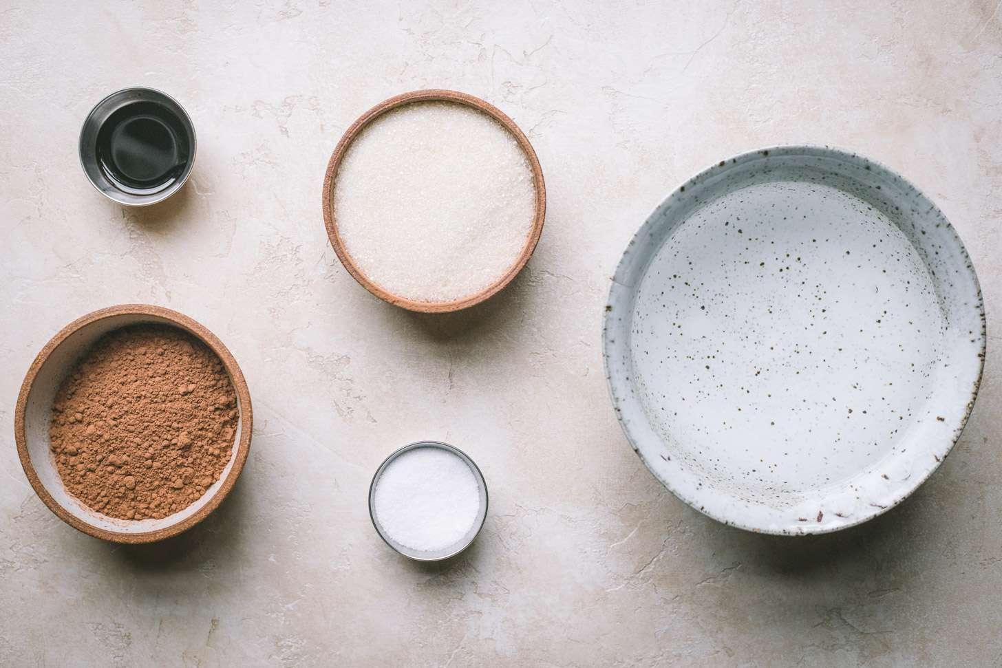Ingredients for vegan chocolate sorbet