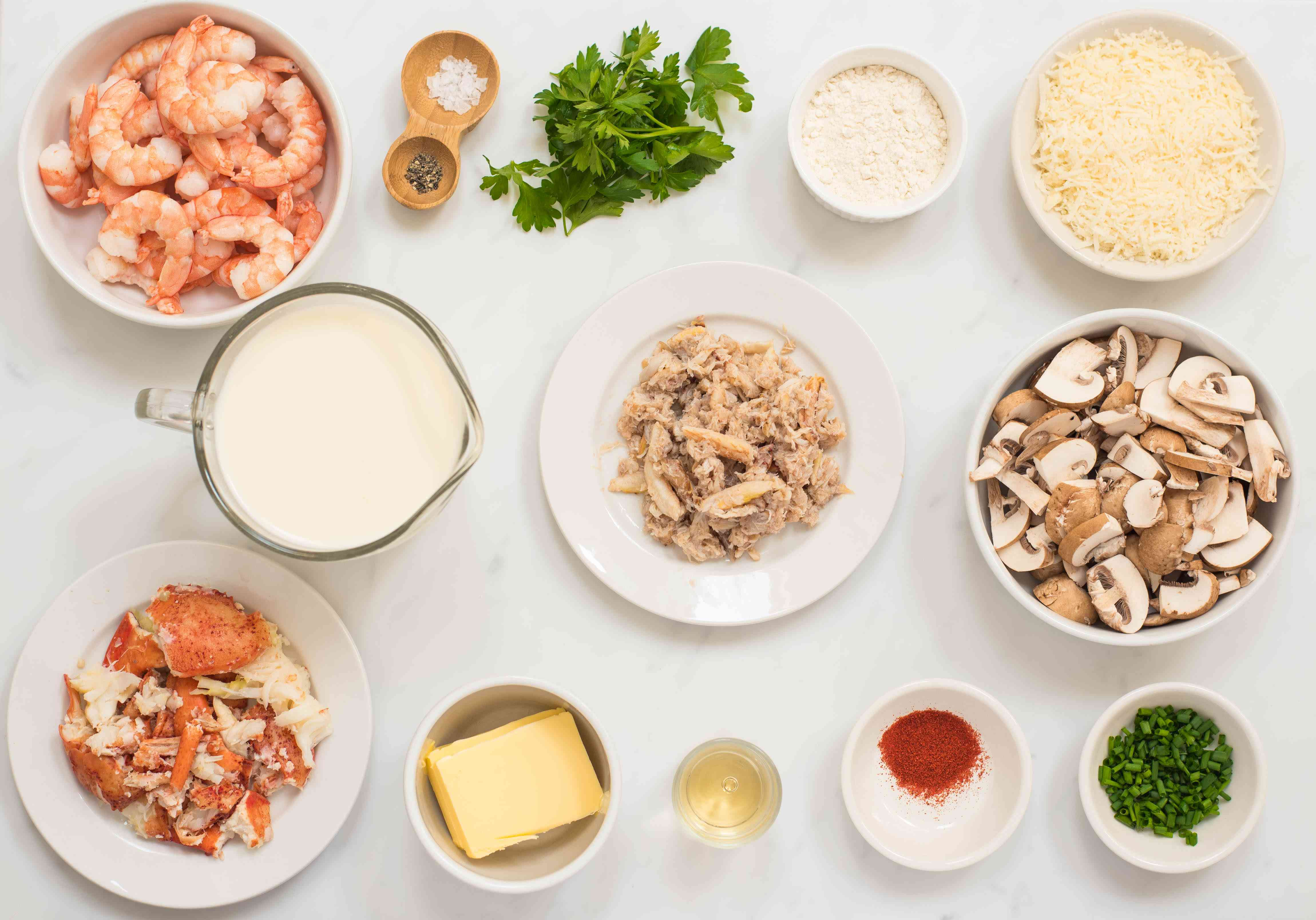 Gather ingredients for seafood casserole