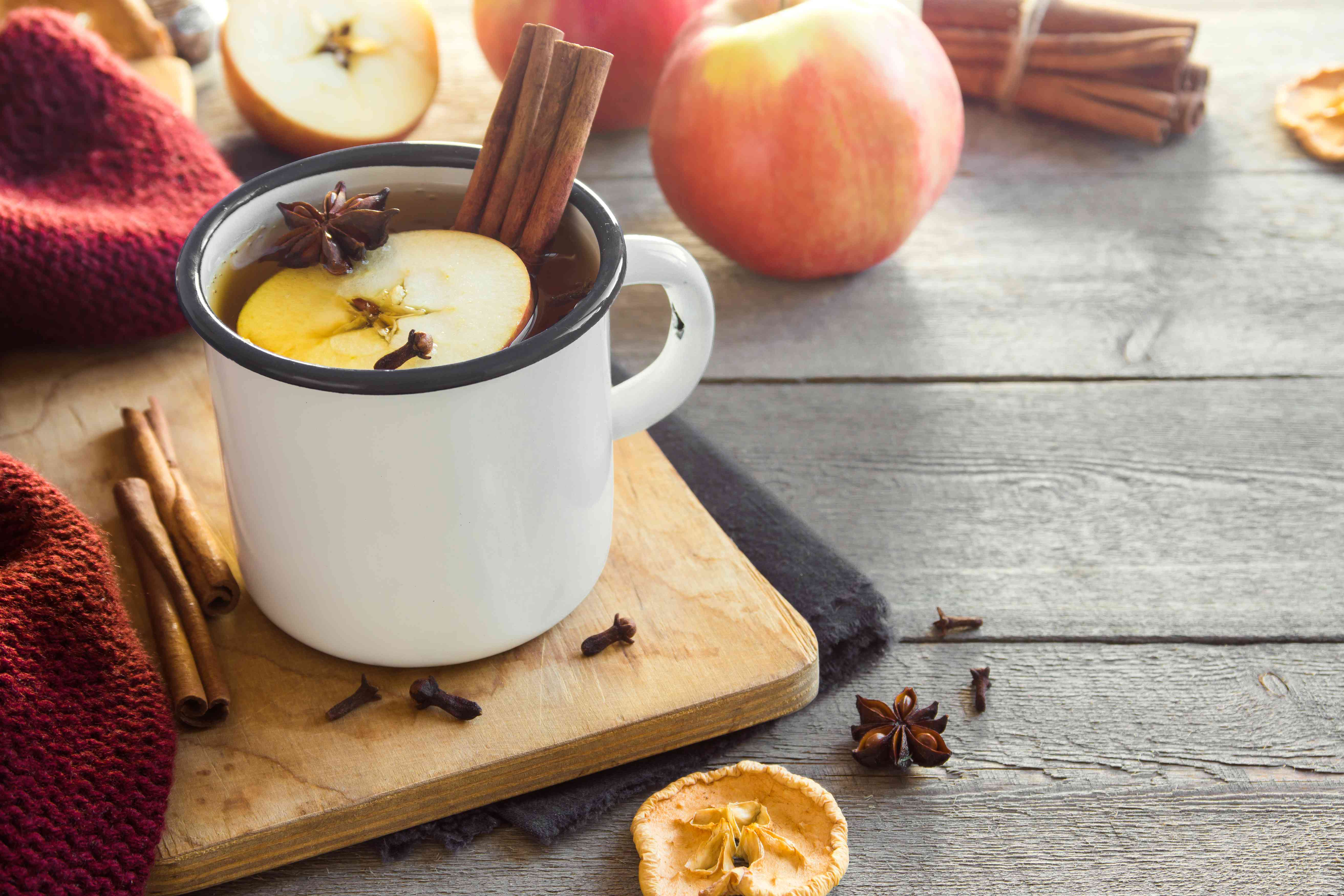 Hot drink with apples for autumn or winter