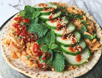 Thai Peanut Chicken Salad Wrap