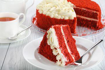 a slice of red velvet cake