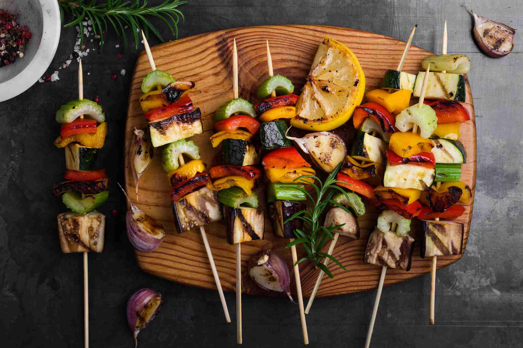 Vegetable skewers on wood board