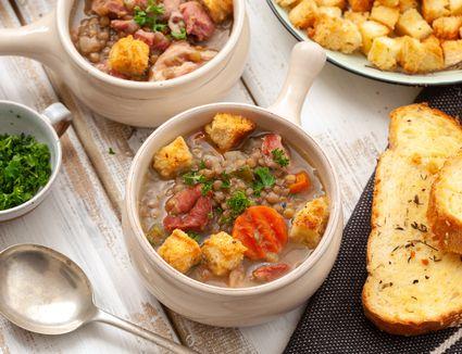 Classic lentil soup with ham recipe