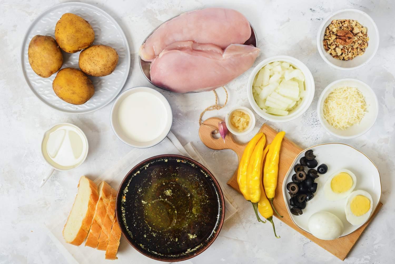 Ingredients for ají de gallina spicy creamed chicken