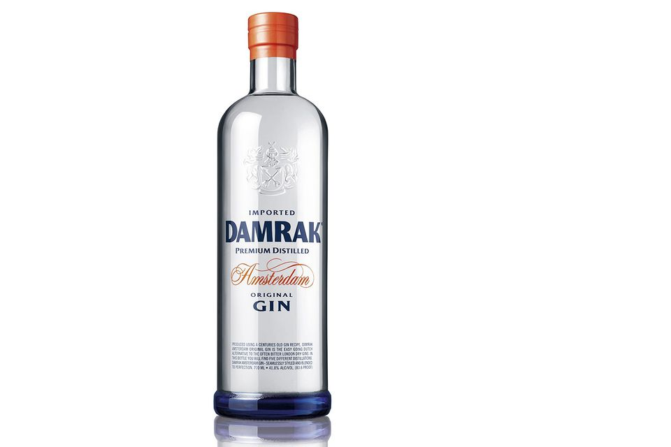 Bottle of Damrak gin, with unique botanicals including citrus and honeysuckle
