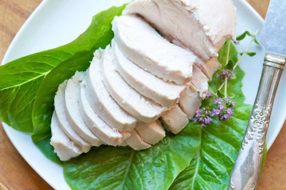 Slices of Poached Chicken Breast on White Plate