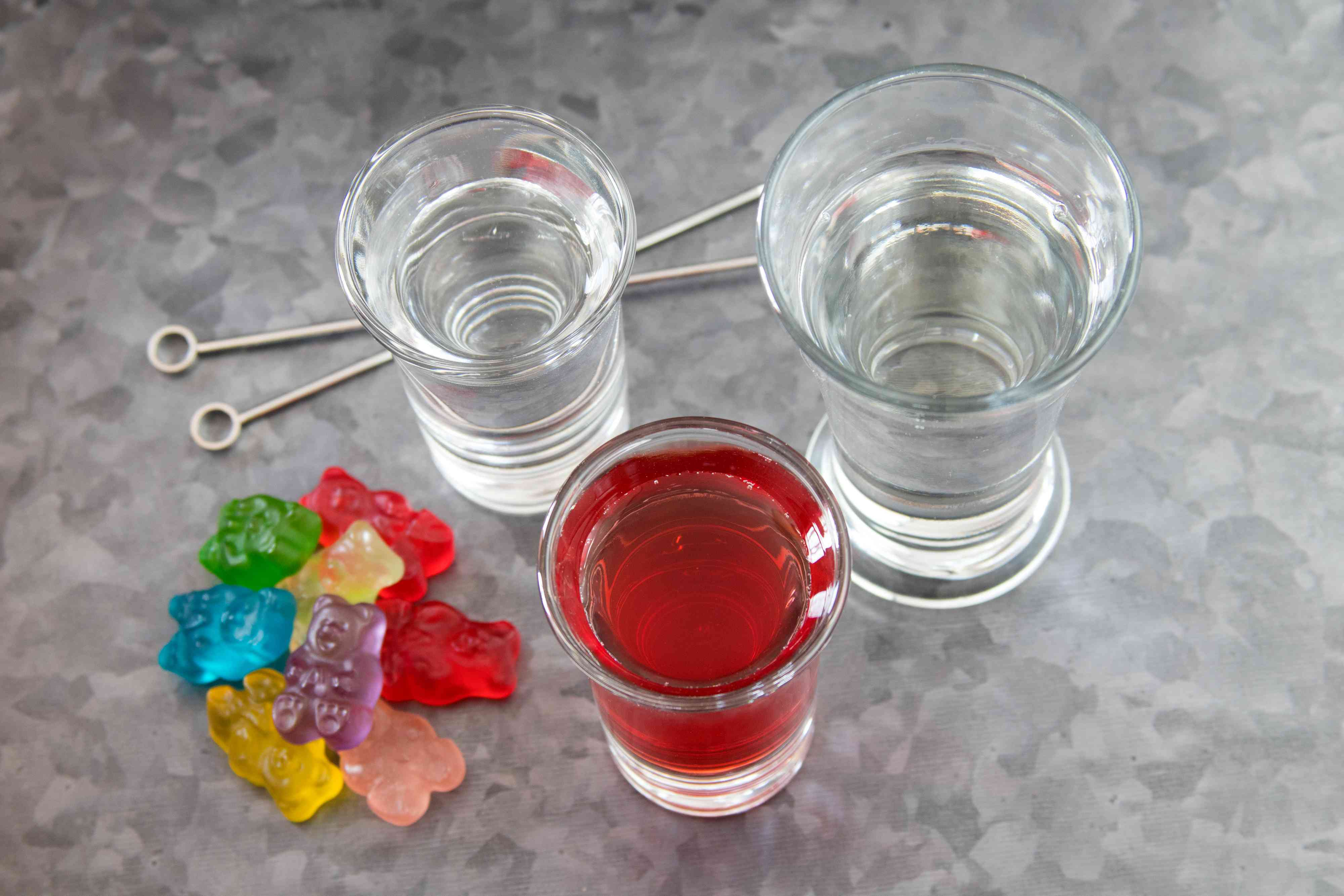 Ingredients for a Gummy Bear Martini