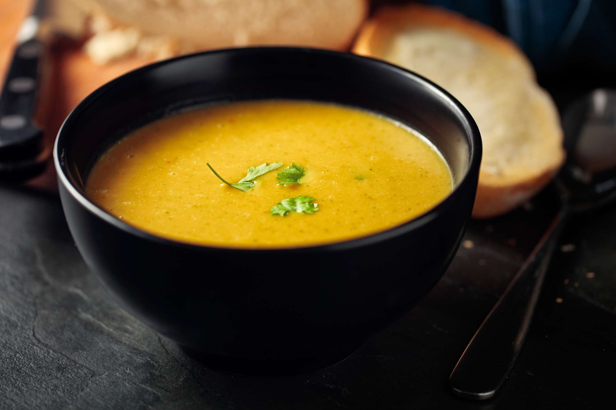 Healthy butternut squash,red lentils and coriander soup