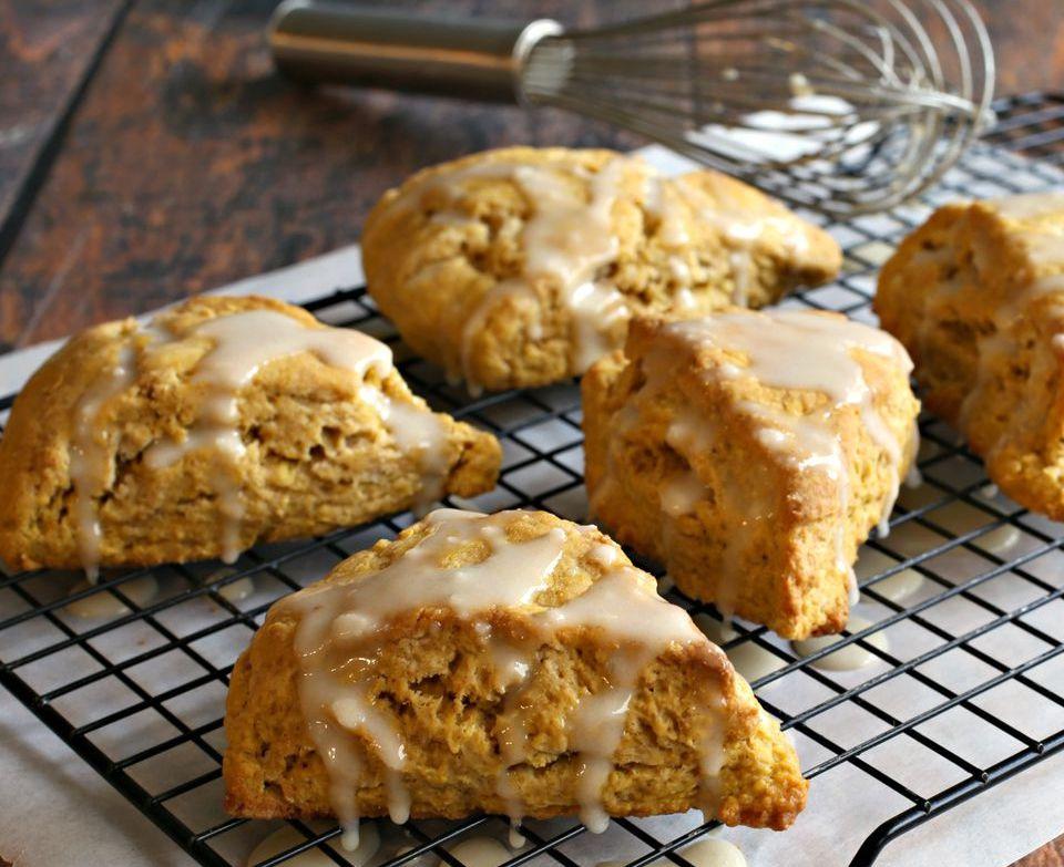 Pumpkin Ginger Scones with Sweet Tahini Glaze