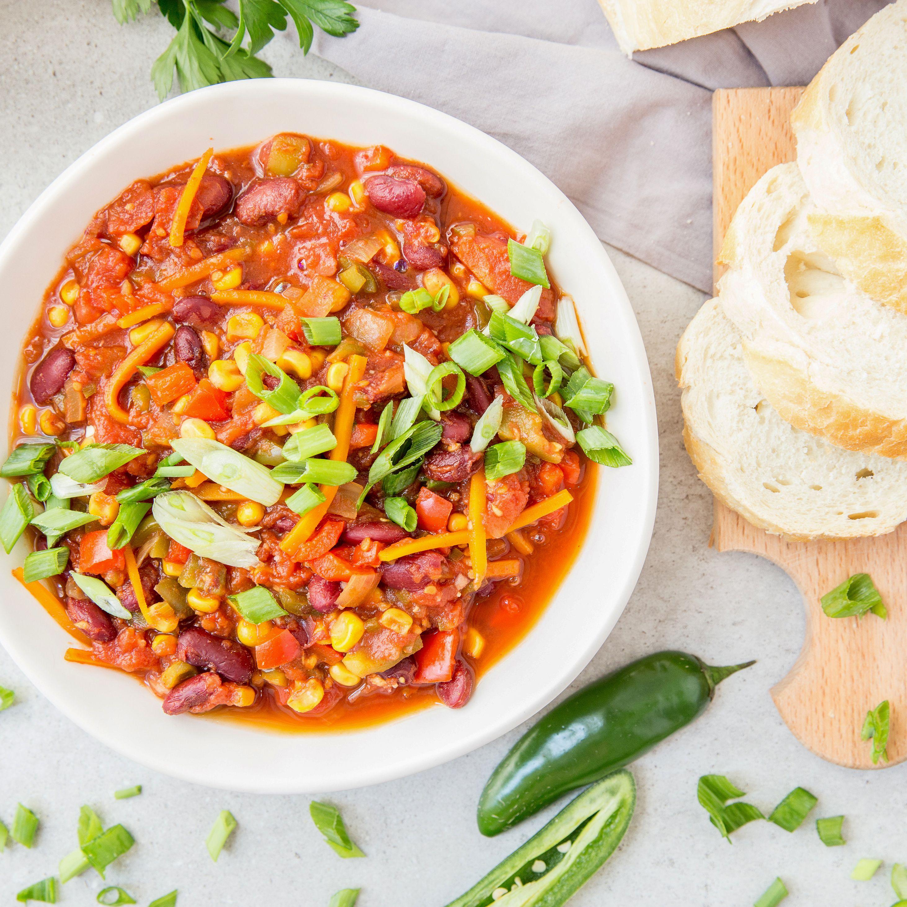 Low Calorie Fat Free Vegan Vegetable Chili Recipe