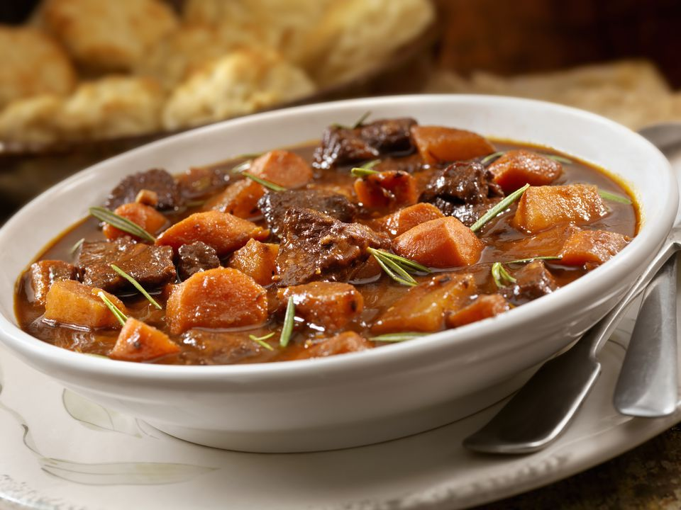 Irish stew with biscuits in a bowl