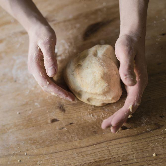Kneading a dough ball
