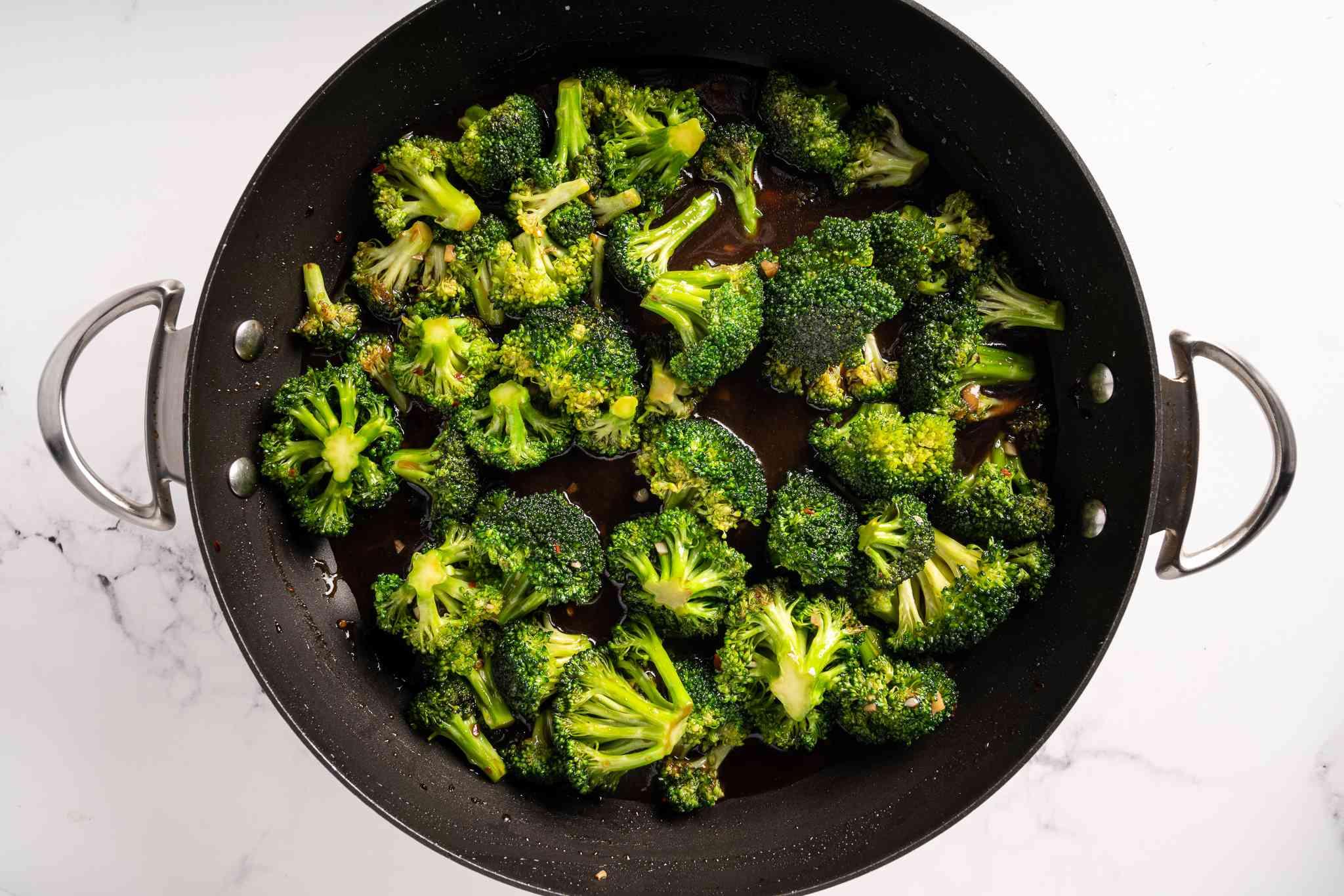 Vegan Broccoli With Garlic Sauce in a pan