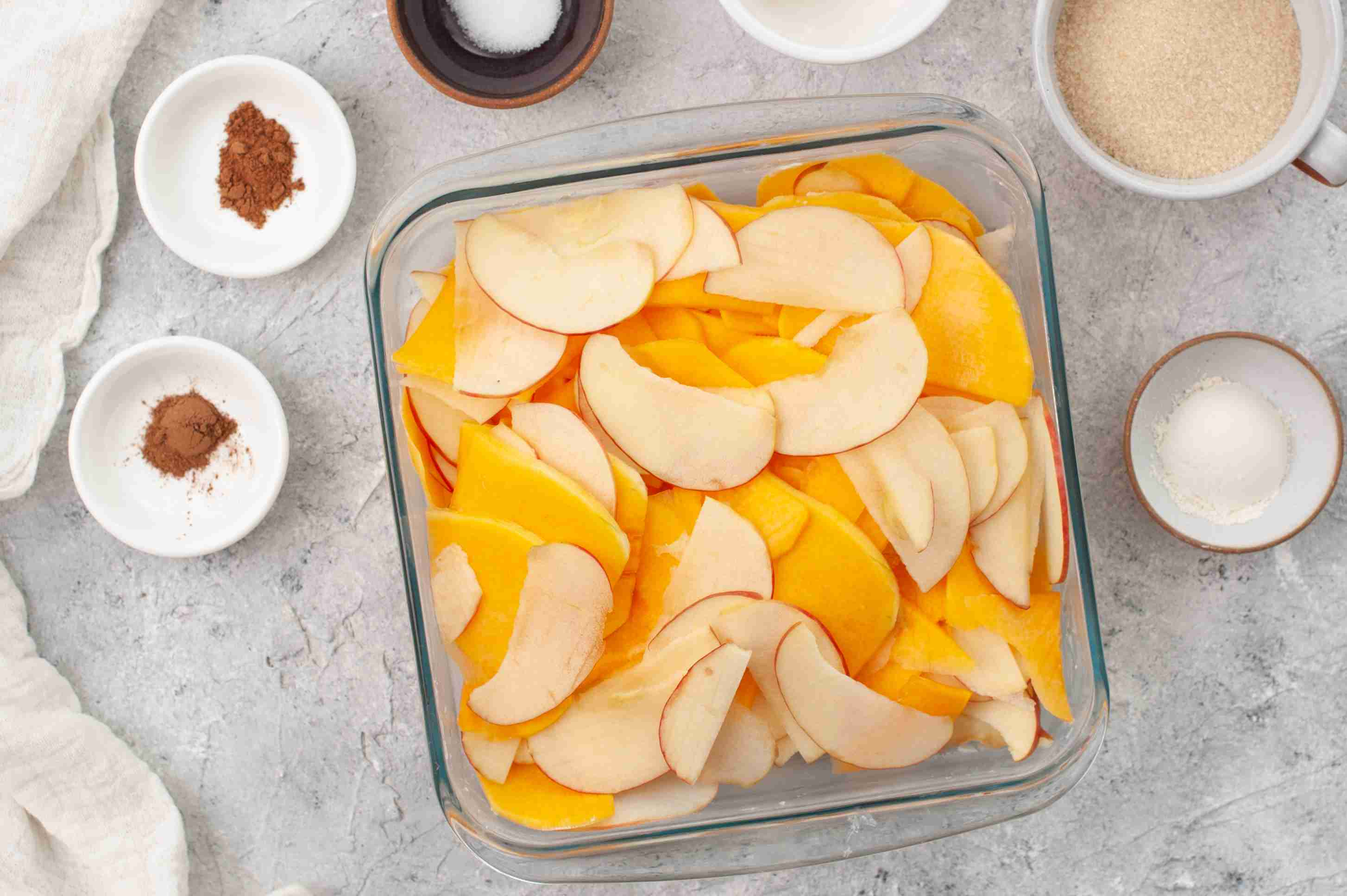 Slice the apples and squash