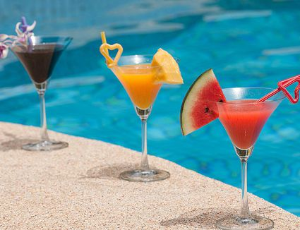 Colorful cocktails by the pool