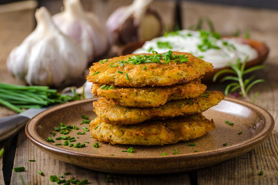 A stack of potato cakes, also known as potato pancakes.