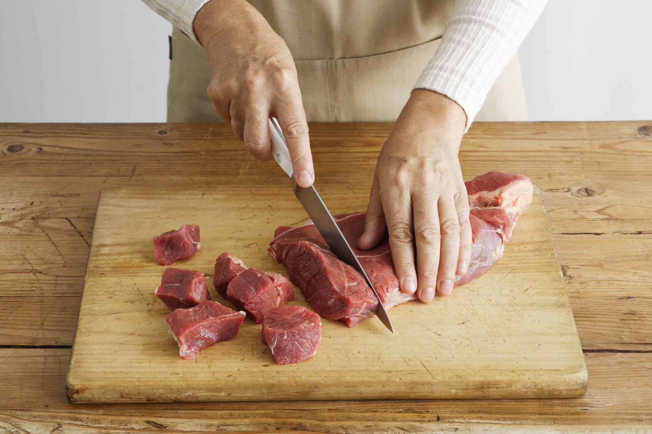 Cutting beef on board