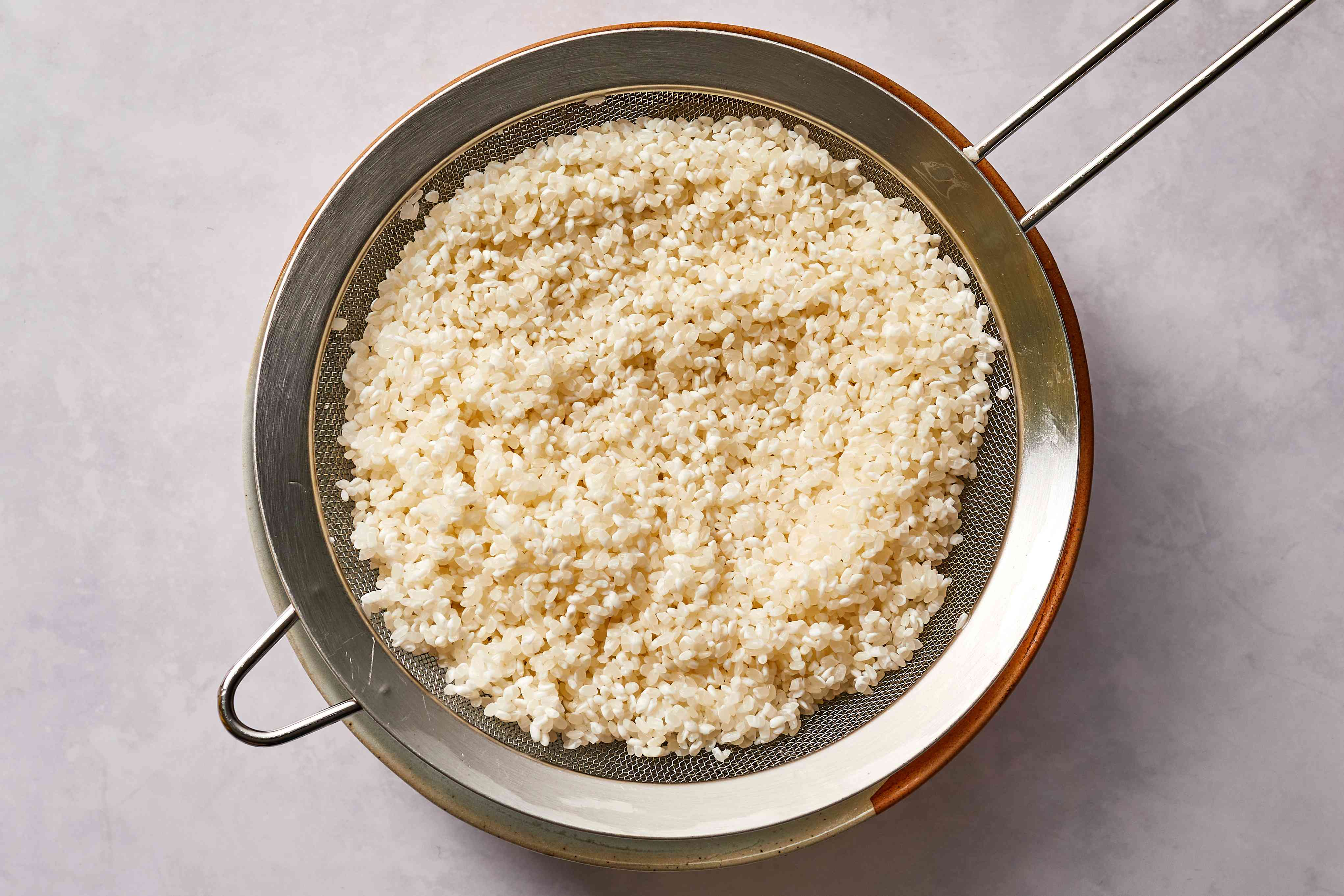rice in a strainer