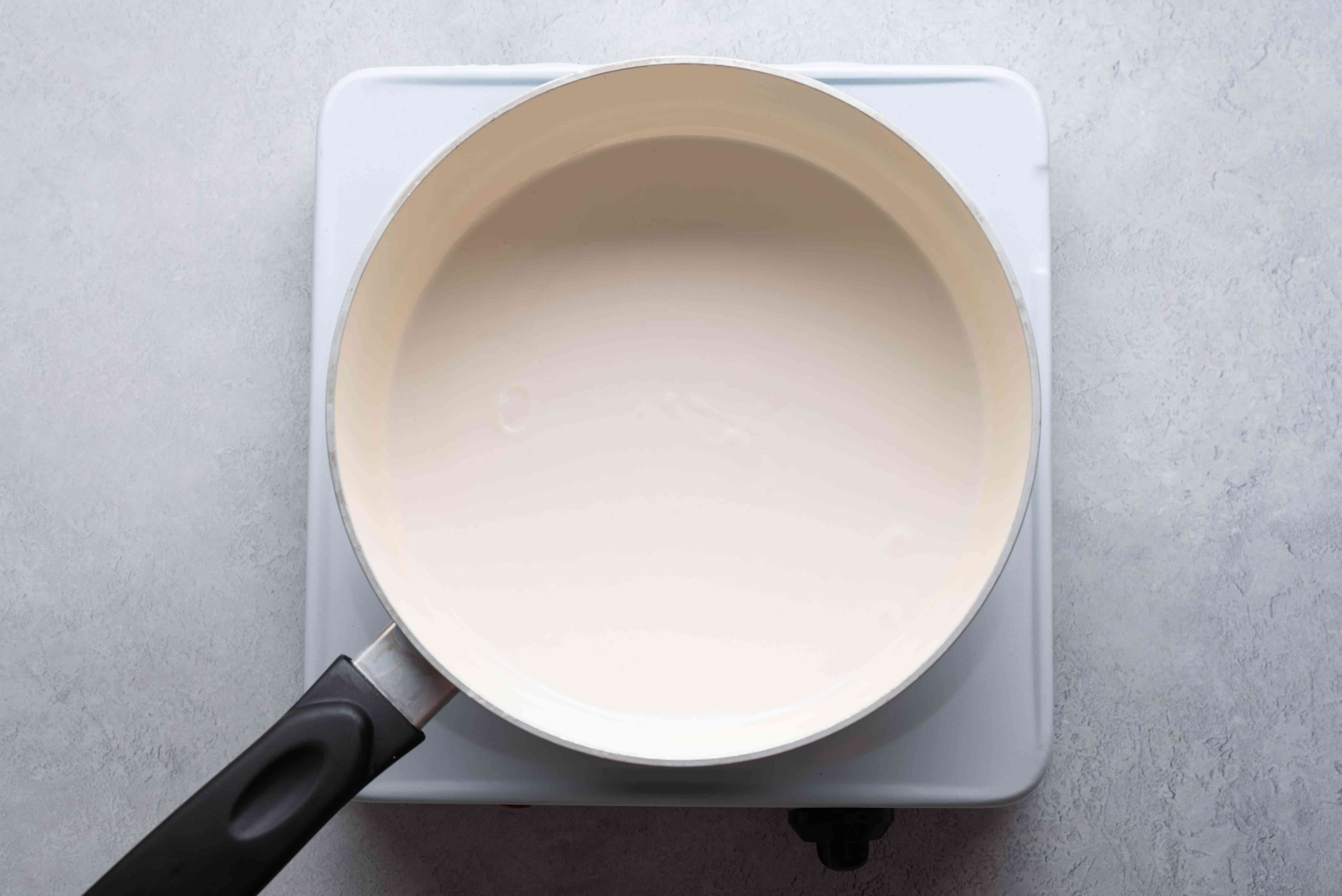 coconut milk in a saucepan
