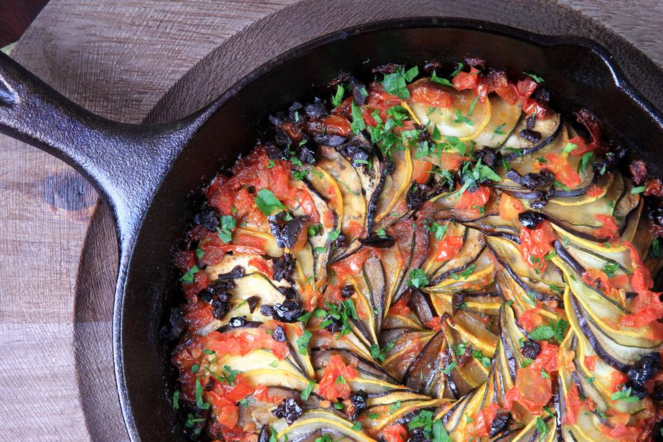 ratatouille beautifully presented in a cast iron pan