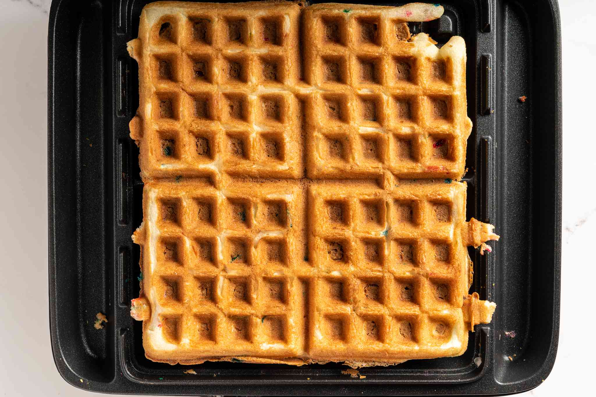 Cake waffle cooked in the waffle iron