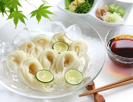 Japanese somen noodles with dipping sauce