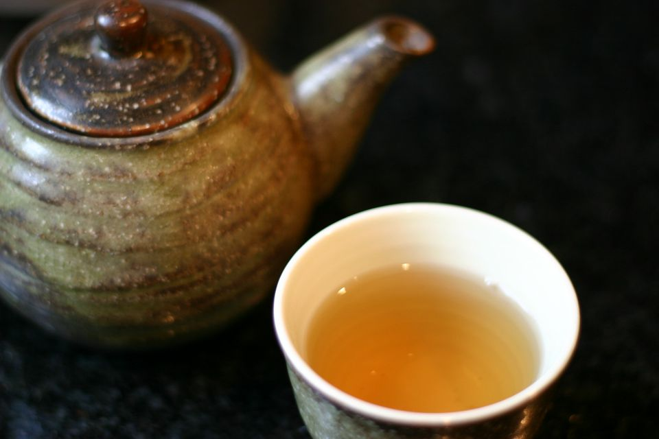 A teapot, and cup of barley tea