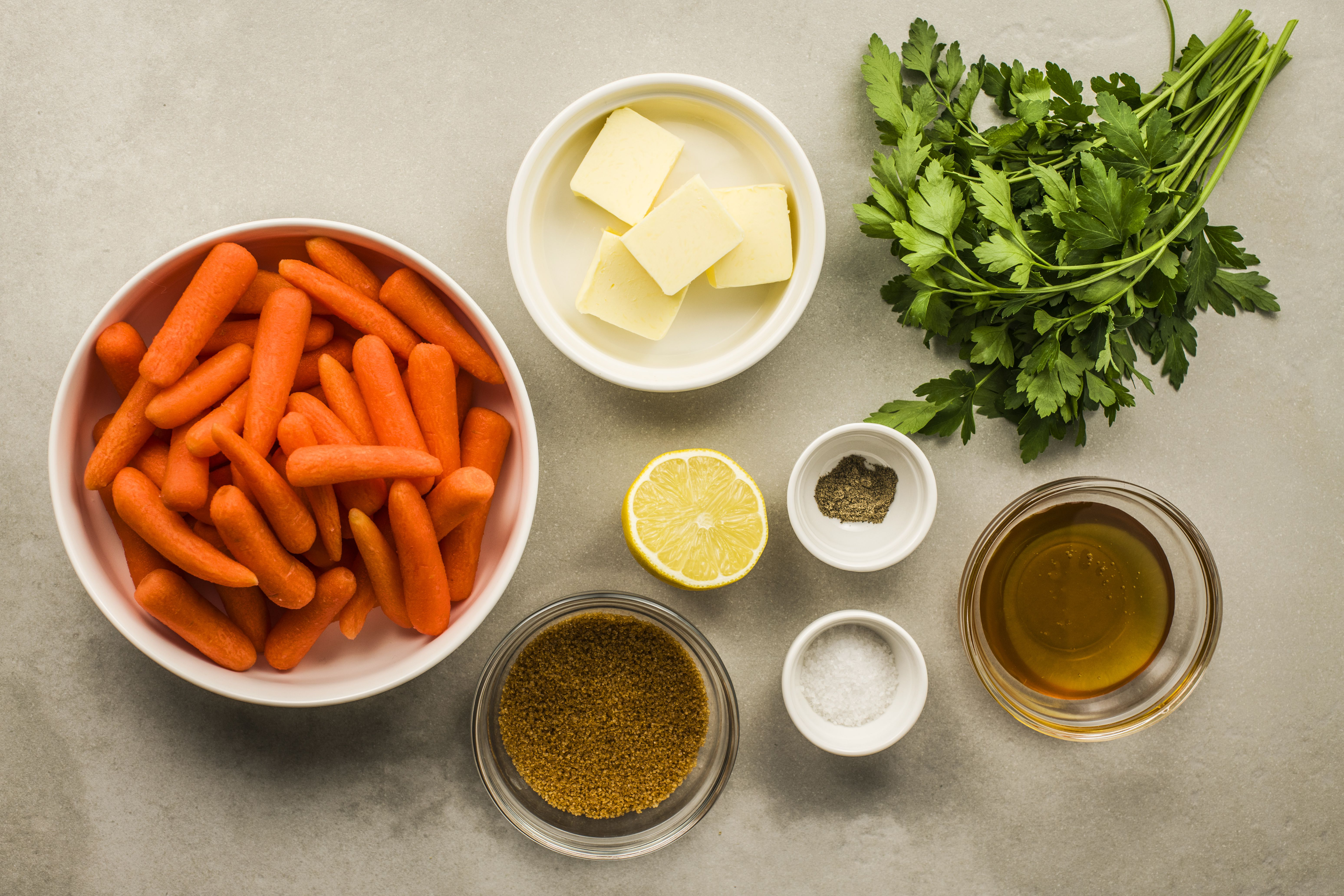 Ingredients for honey glazed baby carrots