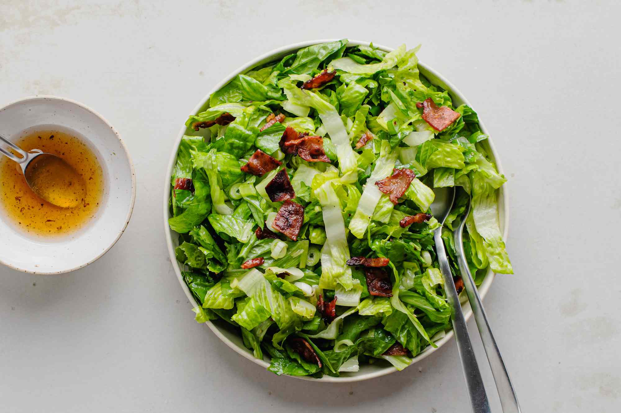 Wilted lettuce salad with bacon