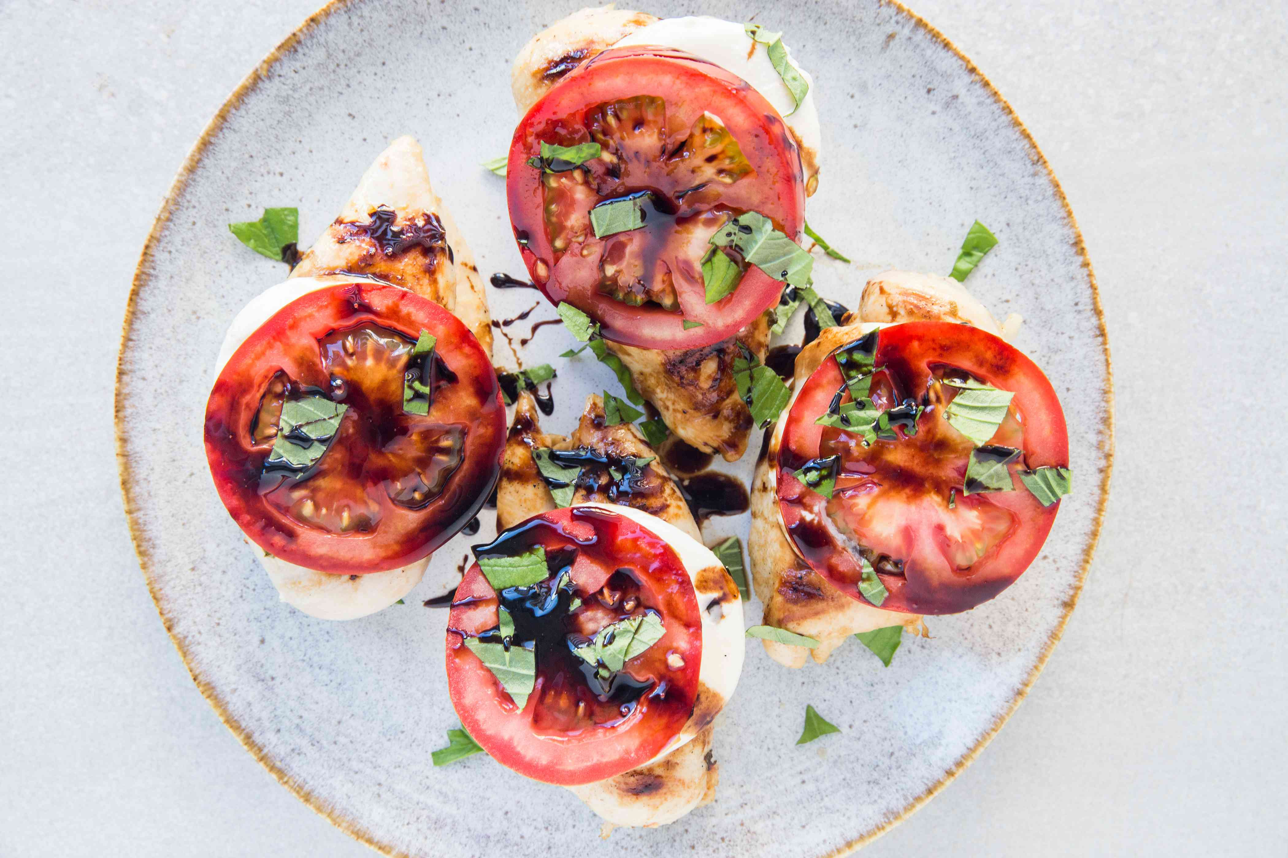 Grilled Caprese Chicken on a platter