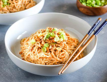 Easy dan dan noodles in a bowl with chopsticks