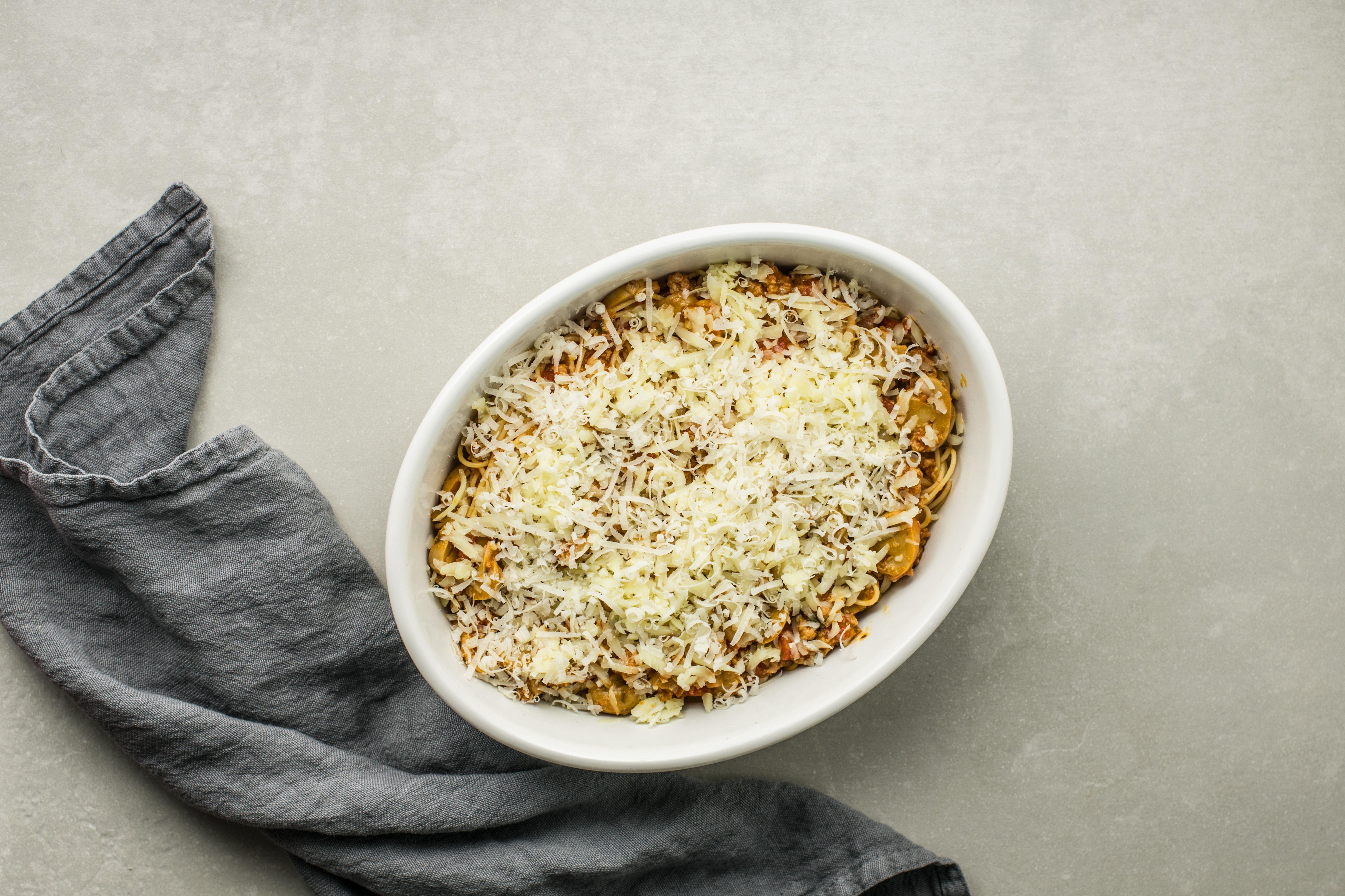 Spaghetti Casserole in casserole dish