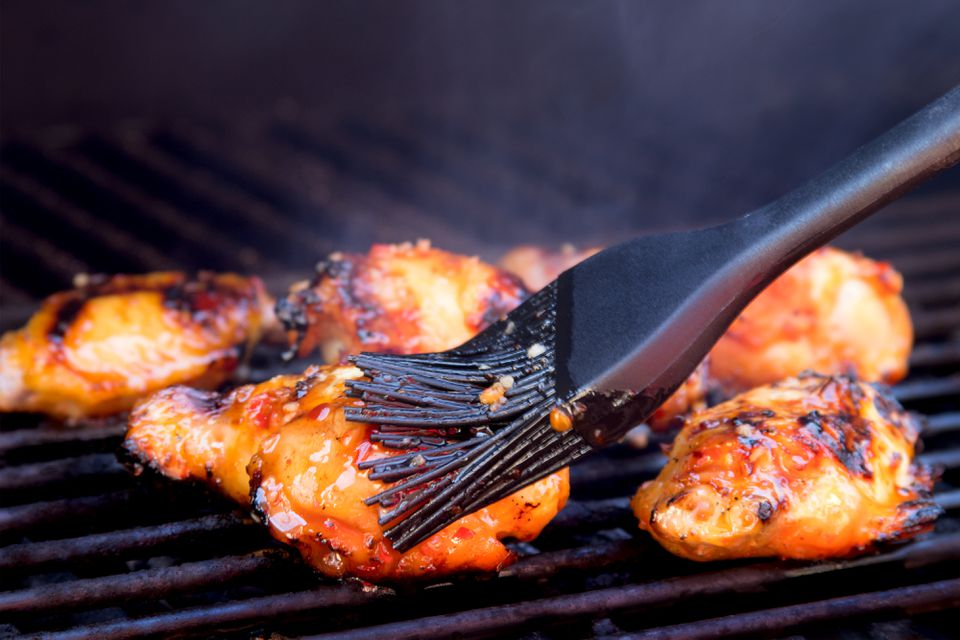Grilling and Basting Thai Chicken Wings