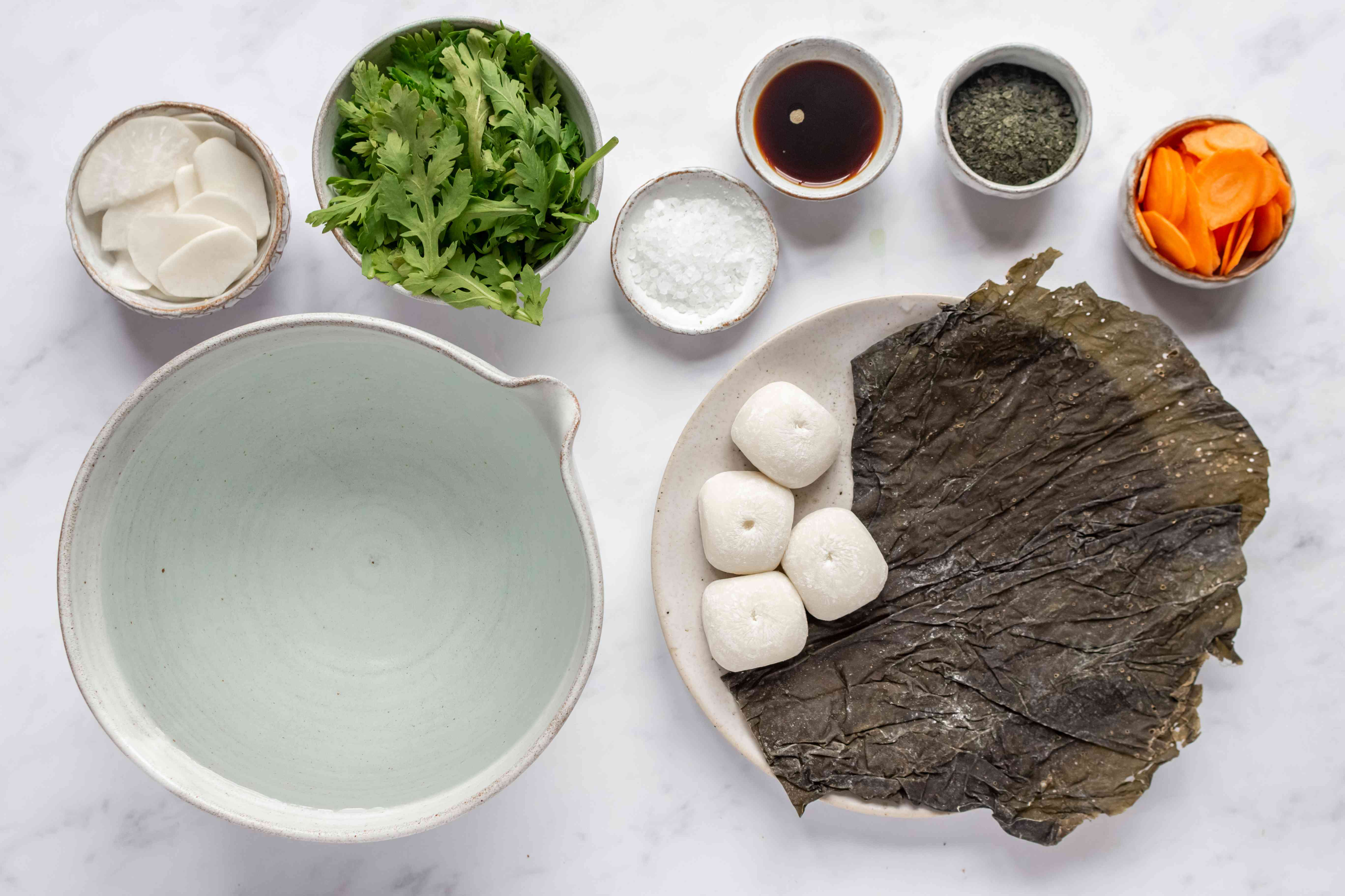 Vegan Ozoni (Japanese New Year's Soup With Rice Cake) ingredients