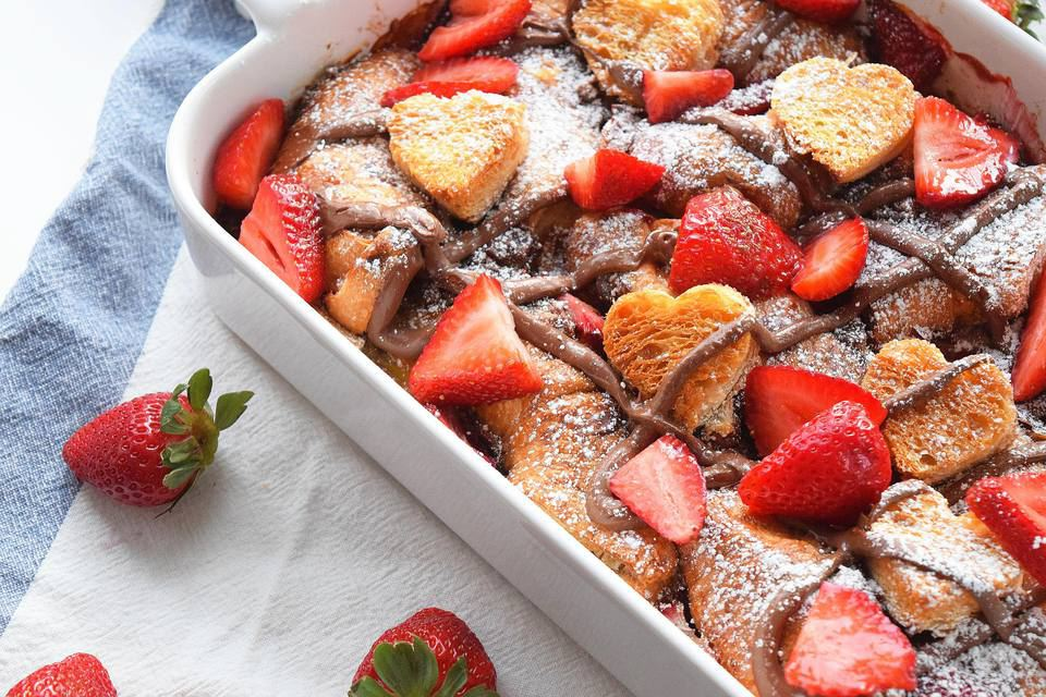 Nutella strawberry croissant french toast