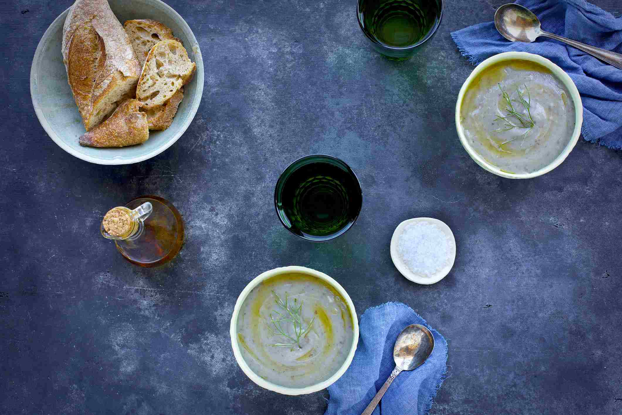 Sicilian fava bean soup topped with fennel