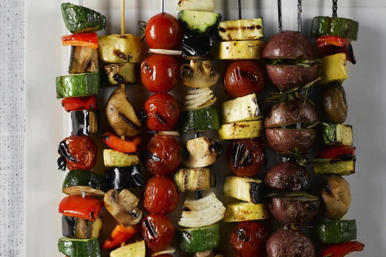 A set of vegetable kebabs